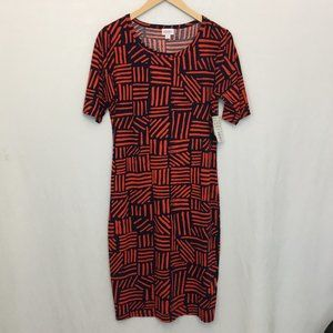 NWT LuLaRoe Julia Geometric Dress Red Blue M